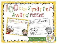 The 100th Day is a BIG deal!! I made these as an extra way to celebrate my precious kiddos! Your kids will love getting this 100 Days Smarter award from you on their special day!   Just print, sign, and hand out on the 100th day! :)  This freebie is available in both color and black and white!