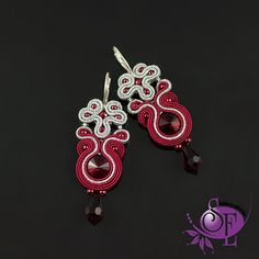 Soutache earrings - red silver earrings by SzkatulkaEmi on Etsy