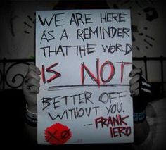 """""""Emo psychopath Frank Iero"""" Oh yes. He's really 'Emo'. He might kill you! """"pro-suicide band 'My Chemical Romance' """" Yes they obviously will make you want to kill yourself! Mcr Quotes, Mcr Memes, Band Quotes, Frank Iero, Emo Bands, Music Bands, My Chemical Romance, Snapchat, Gerard Way"""
