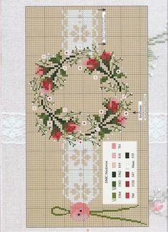 Ghirlanda con fiori e bottone - Tovaglia