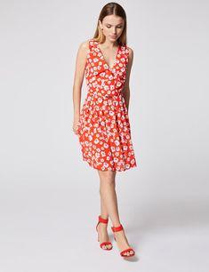 e23557030dd Robe courte évasée imprimé floral Rouge Morgan - Robe Morgan