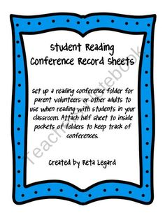 Student Reading Conference Record Sheets from Second Grade Superstars on TeachersNotebook.com (3 pages)