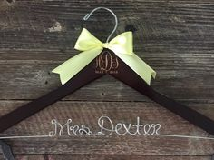 Wedding Monogram Hanger Bride Hanger Engraved Bridal by GetHungUp Bride Hanger, Wedding Hangers, Personalized Hangers, Natural Wood Finish, Monogram Wedding, Ribbon Colors, Wedding Season, Special Day, The Creator