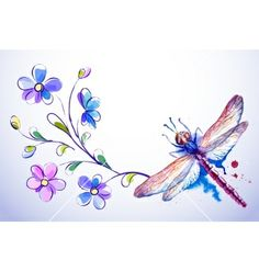 Horizontal card with dragonfly and blue flowers vector watercolor by Alchena on VectorStock® Dragonfly Wallpaper, Dragonfly Wall Art, Dragonfly Tattoo Design, Tattoo Designs, Sugar Skull Tattoos, Insect Art, Color Pencil Art, Garter Tattoos, Rosary Tattoos
