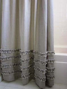 Vintage Ticking Stripe Shower Curtain with Ruffles | 3 Sizes | Black Gray Navy…