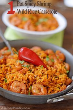 Make #dinner interesting with this Spicy Shrimp Wild Rice Casserole!