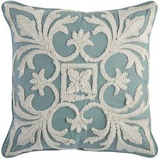 Coastal Embroidered Pillow - Blue