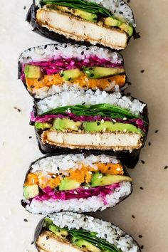 Onigirazu also known as a sushi sandwich is a great way to enjoy your sushi on the go. Our version has a vegan filling of katsu tofu and sweet potato.