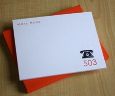 Personalized Area Code Stationery, $14.50 / 12