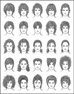 Men's Hair - Set 8 - Different Hairstyles for Boys - Character Design and Drawing Reference Manga Anime, Anime Eyes, Anime Hairstyles Male, Girl Hairstyles, Drawing Hairstyles, Guy Drawing, Woman Drawing, Drawing Ideas, Different Hairstyles For Boys