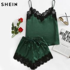 SHEIN Pajama Sets Army Green