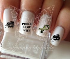 Proud Army Wife Nail Water Decals Transfers Wraps