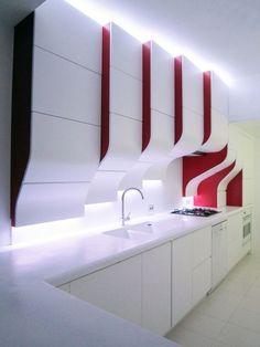 6 Unbelievable Tricks Can Change Your Life: Glam Contemporary Decor contemporary kitchen design. Kitchen Room Design, Modern Kitchen Cabinets, Kitchen Cabinet Design, Interior Design Kitchen, Kitchen Ideas, Color Interior, Kitchen Time, Nice Kitchen, Red Kitchen