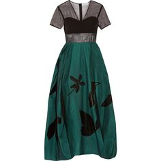 Jonathan Saunders Constance silk-organza, linen and wool midi dress ($1,980) ❤ liked on Polyvore featuring dresses, gown, green evening dress, green gown, wool dress, sheer dress and see through dress