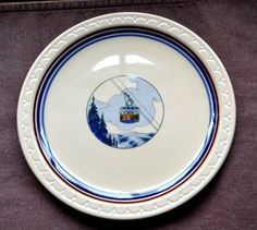 Vtg Syracuse China Econo-Rim Restaurant Ware Plate New Hampshire Aerial Tramway #SyracuseEconoRim