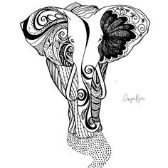 AWAKEN // Elephant Drawing Design available in mugs, handbags, pillows and more...