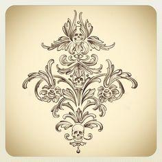 Skull damask design by Kat Von D, but without the skulls. Future Tattoos, Love Tattoos, Beautiful Tattoos, Tattoos For Women, Tatoos, Damask Tattoo, Filigree Tattoo, Tattoo Hals, I Tattoo