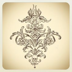 Skull damask design i sketched! (Possibly for the lining of coats!) @Kat Von D Clothing- Women's High End Apparel