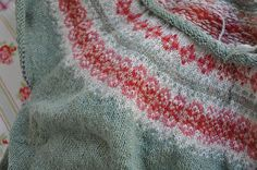 princesspea's Fair Isle Yoke Sweater from ravelry.  Love these colours!