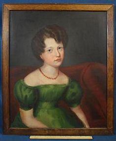 American Artists List Oil Paintings | 19thC Antique American Folk Art Portrait Oil Painting, Girl in Green ...