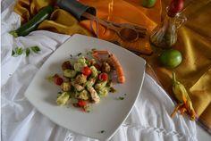 Gnocchi di zucchine con scampi e polpettine di alici al lime