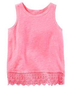 a07bb99c124e5 Neon Crochet Trim Tank Carters Baby Girl