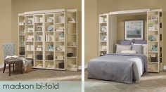 Love this Murphy Bed The ultimate in comfort. This bed features bi-fold bookcase doors which fold out of the way when it's time for bed – a perfect addition to any room. Furniture, Panel Bed, Home, Folding Walls, Bed Wall, Remodel Bedroom, Bed Plans, Guest Room Office, Murphy Bed Plans