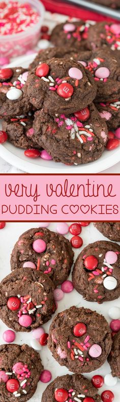 Very Valentine Pudding Cookies - this easy chocolate cookie recipe full of chocolate pudding for a super soft Valentine's Day cookie!