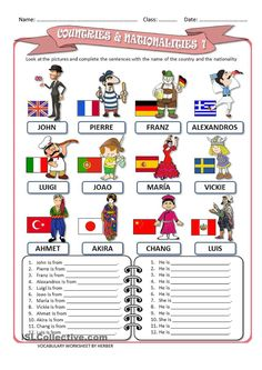 COUNTRIES AND NATIONALITIES 1 WS