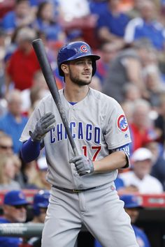 Kris Bryant #17 of the Chicago Cubs waits to bat in the second inning against the Cincinnati Reds at Great American Ball Park on October 1, 2016 in Cincinnati, Ohio. The Reds defeated the Cubs 7-4.