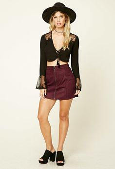 Faux Suede Zip-Front Mini Skirt | Forever 21 - 2000201057