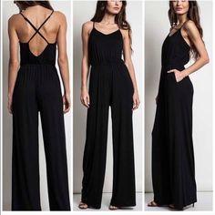 "Black Jumpsuit Size large . Inseam 33/34"" . Nwot beautiful black jumpsuit rayon and spandex blend . Adjustable straps . Vivacouture Pants Jumpsuits & Rompers"