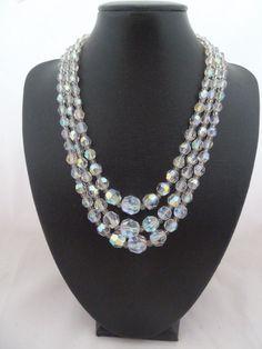 Aurora Borealis Three Strand Crystal Faceted by jewelbirdvintage