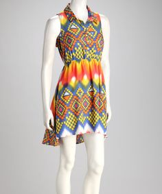 $18 Take a look at this Orange & Blue Geo Tribal Sleeveless Dress by Apollo on #zulily today!