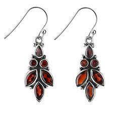 Franki Baker Garnet and 925 Sterling Silver Leaf Design Drop Earrings