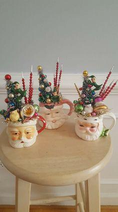 Vintage Christmas Crafts, Retro Christmas, Vintage Holiday, Xmas Crafts, Rustic Christmas, Christmas Past, Christmas Mugs, Christmas Projects, Winter Christmas