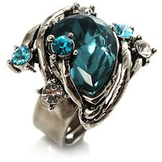 Vintage Pear-Cut Crystal Cocktail Ring (Teal&Clear)