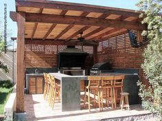 Architecture of Houses: Models of quinchos for roasts. Outdoor Kitchen Patio, Casa Patio, Outdoor Kitchen Design, Outdoor Living, Wooden Pergola, Diy Pergola, Pergola Ideas, Pergola Kits, Backyard Patio Designs
