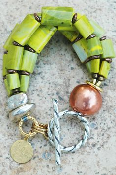 Elegant and Sensuous Lime green Serpentine, Copper and Silver Multi-Strand Bracelet