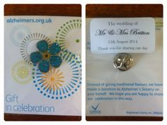 In Place Of Wedding Favours We Donated Money To Charity Had A Each And Placed Pin Badge For On Piece Card Prin