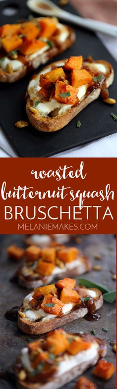 These Roasted Butternut Squash Bruschetta are not only easy on the eyes but they're also equally easy to assemble. Toasted ciabatta bread slices are topped with a layer of ricotta cheese and then drizzled with balsamic caramelized onions before being studded with roasted butternut squash and sprinkled with fresh sage and toasted squash seeds.