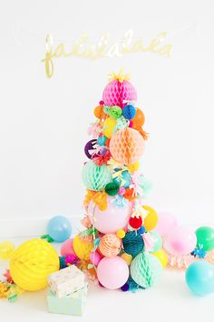 A simple, non-shedding alternative for the holidays: A DIY Pom Pom Christmas Tree idea!