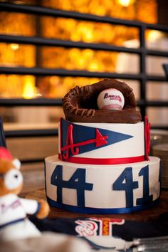 My husband's groom's cake. He loves the Braves! Cakes For Women, Cakes For Boys, My Birthday Cake, Boy Birthday Parties, Sweet Cakes, Cute Cakes, Atlanta Braves Cake, Beautiful Cakes, Amazing Cakes