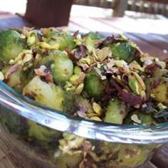Caramelized Brussels Sprouts with Pistachios <> sub apple cider vinegar for red wine vinegar and stevia for sugar.  I'd also use pecans, macadamia nuts, or brazil nuts instead of pistachios