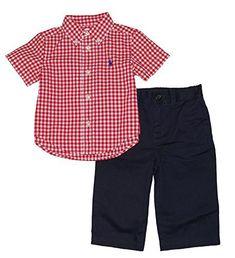 dc605304db648 Ralph Lauren Polo Baby Boys Gingham Shirt   Chino Pants Set (9 Months)