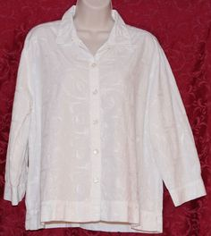 Chicos Design 3 White Embroidered XL Floral Blouse Top Swirls Button Front  #Chicos #Embroidered #Floral #Swirls #Blouse #Top #Shirt #PlusSize #White