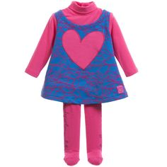 Baby Girls Pink & Blue Heart Dress with Tights, Agatha Ruiz de la Prada, Girl