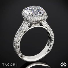 Platinum Tacori RoyalT Cushion-Style Bloom Diamond Engagement Ring for 3.5ct Center
