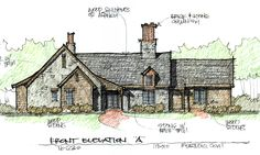 One of three concept elevations for a new custom home on a wooded lot……….Learn more about how better design makes your home a more fulfilling place to live on our blog at www.rtastudio.blogspot.com