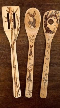 Asian Wooden Spoon Set by KitchenSmiles on Etsy, $28.00